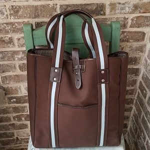 NWOT! Rafe New York Brown Blue Leather Canvas Tote